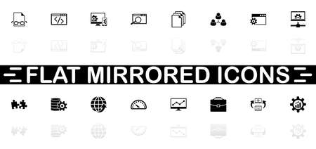 Development icons - Black symbol on white background. Simple illustration. Flat Vector Icon. Mirror Reflection Shadow.