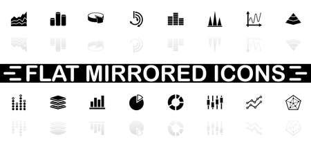 Diagram Graphs icons - Black symbol on white background. Simple illustration. Flat Vector Icon. Mirror Reflection Shadow. Standard-Bild - 128638321