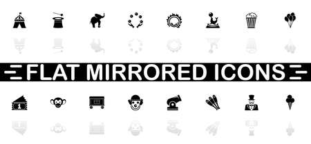 Circus icons - Black symbol on white background. Simple illustration. Flat Vector Icon. Mirror Reflection Shadow.