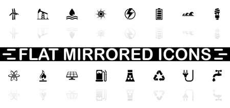 Energy icons - Black symbol on white background. Simple illustration. Flat Vector Icon. Mirror Reflection Shadow. Ilustração