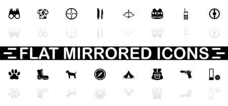 Hunting icons - Black symbol on white background. Simple illustration. Flat Vector Icon. Mirror Reflection Shadow. Ilustracja