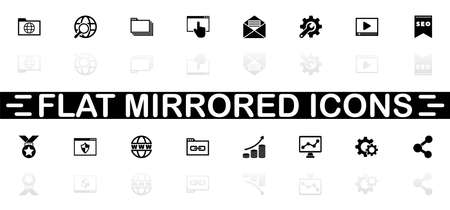 Seo icons - Black symbol on white background. Simple illustration. Flat Vector Icon. Mirror Reflection Shadow.