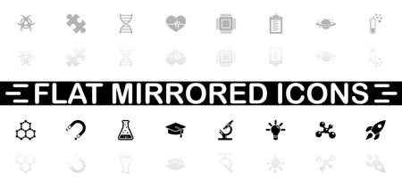 Science icons - Black symbol on white background. Simple illustration. Flat Vector Icon. Mirror Reflection Shadow.
