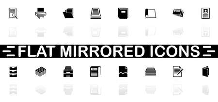 Document icons - Black symbol on white background. Simple illustration. Flat Vector Icon. Mirror Reflection Shadow. Stock Illustratie