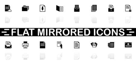 Documents icons - Black symbol on white background. Simple illustration. Flat Vector Icon. Mirror Reflection Shadow.