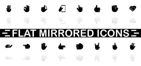 Hands icons - Black symbol on white background. Simple illustration. Flat Vector Icon. Mirror Reflection Shadow.