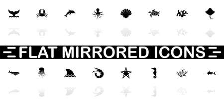 Marine Life icons - Black symbol on white background. Simple illustration. Flat Vector Icon. Mirror Reflection Shadow.
