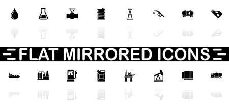Oil icons - Black symbol on white background. Simple illustration. Flat Vector Icon. Mirror Reflection Shadow.
