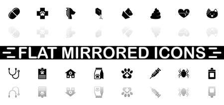 Pet Vet icons - Black symbol on white background. Simple illustration. Flat Vector Icon. Mirror Reflection Shadow. Illustration