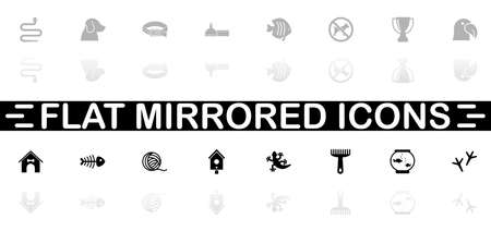 Pets icons - Black symbol on white background. Simple illustration. Flat Vector Icon. Mirror Reflection Shadow.