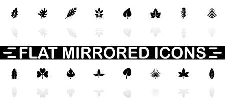Herb icons - Black symbol on white background. Simple illustration. Flat Vector Icon. Mirror Reflection Shadow.
