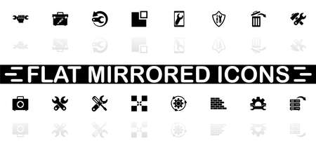 Recovery Repair icons - Black symbol on white background. Simple illustration. Flat Vector Icon. Mirror Reflection Shadow.