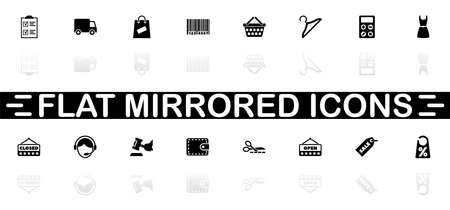 Shopping icons - Black symbol on white background. Simple illustration. Flat Vector Icon. Mirror Reflection Shadow.