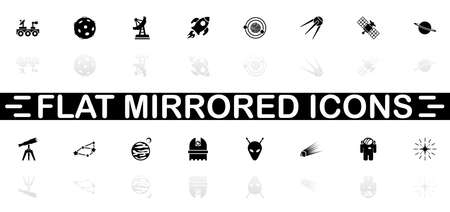 Space icons - Black symbol on white background. Simple illustration. Flat Vector Icon. Mirror Reflection Shadow.