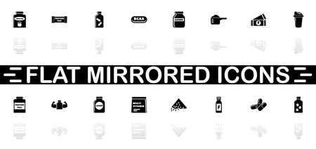 Sport Supplements icons - Black symbol on white background. Simple illustration. Flat Vector Icon. Mirror Reflection Shadow.
