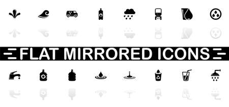 Water icons - Black symbol on white background. Simple illustration. Flat Vector Icon. Mirror Reflection Shadow. Can be used in logo, web, mobile and UI UX project. Zdjęcie Seryjne - 129260483