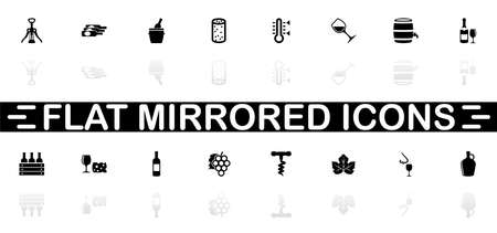 Wine icons - Black symbol on white background. Simple illustration. Flat Vector Icon. Mirror Reflection Shadow. Can be used in logo, web, mobile and UI UX project.