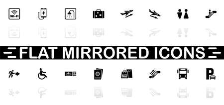 Airport icons - Black symbol on white background. Simple illustration. Flat Vector Icon. Mirror Reflection Shadow. Can be used in logo, web, mobile and UI UX project.