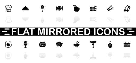 Food icons - Black symbol on white background. Simple illustration. Flat Vector Icon. Mirror Reflection Shadow. Can be used in logo, web, mobile and UI UX project.