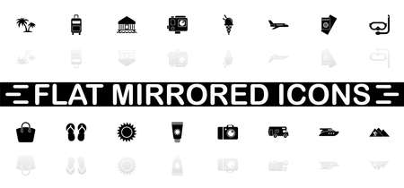Tourism icons - Black symbol on white background. Simple illustration. Flat Vector Icon. Mirror Reflection Shadow. Can be used in logo, web, mobile and UI UX project. Фото со стока - 129260487