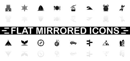 Vacation icons - Black symbol on white background. Simple illustration. Flat Vector Icon. Mirror Reflection Shadow. Can be used in logo, web, mobile and UI UX project. Иллюстрация