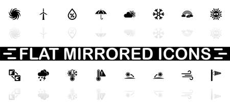 Weather icons - Black symbol on white background. Simple illustration. Flat Vector Icon. Mirror Reflection Shadow. Can be used in logo, web, mobile and UI UX project.