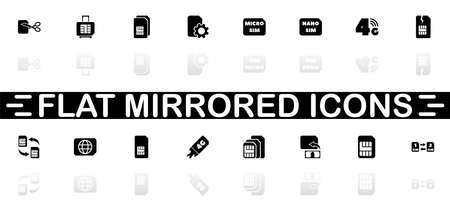 Sim Cards icons - Black symbol on white background. Simple illustration. Flat Vector Icon. Mirror Reflection Shadow. Can be used in logo, web, mobile and UI UX project.