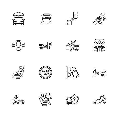 Auto Safety, Car Safeness outline icons set - Black symbol on white background. Money and Finance Simple Illustration Symbol - lined simplicity Sign. Flat Vector thin line Icon - editable stroke