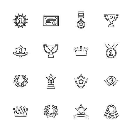 Awards, Trophy outline icons set - Black symbol on white background. Money and Finance Simple Illustration Symbol - lined simplicity Sign. Flat Vector thin line Icon - editable stroke