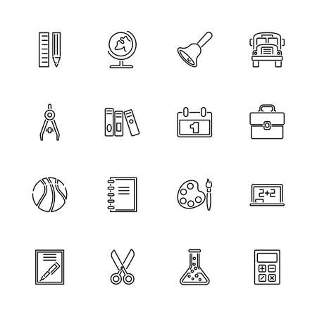 Back to School, Education outline icons set - Black symbol on white background. Money and Finance Simple Illustration Symbol - lined simplicity Sign. Flat Vector thin line Icon - editable stroke