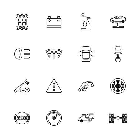 Car, Vehicle Equipment outline icons set - Black symbol on white background. Money and Finance Simple Illustration Symbol - lined simplicity Sign. Flat Vector thin line Icon - editable stroke Foto de archivo - 129260501