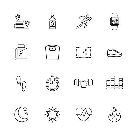 Activity Tracking, Sport outline icons set - Black symbol on white background. Money and Finance Simple Illustration Symbol - lined simplicity Sign. Flat Vector thin line Icon - editable stroke