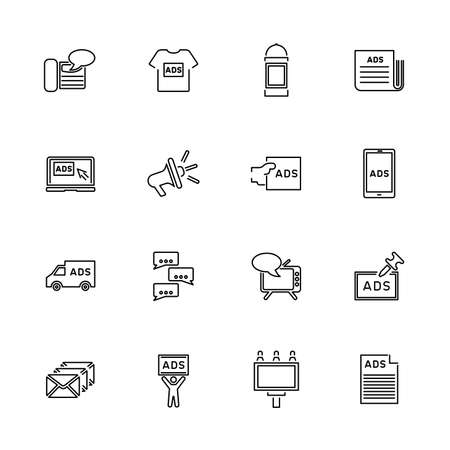 Advertisement, Marketing outline icons set - Black symbol on white background. Money and Finance Simple Illustration Symbol - lined simplicity Sign. Flat Vector thin line Icon - editable stroke Ilustracja
