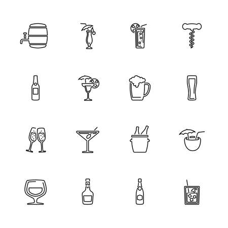 Alcoholic Drinks, Bar Assortment outline icons set - Black symbol on white background. Money and Finance Simple Illustration Symbol - lined simplicity Sign. Flat Vector thin line Icon editable stroke Фото со стока - 129260504