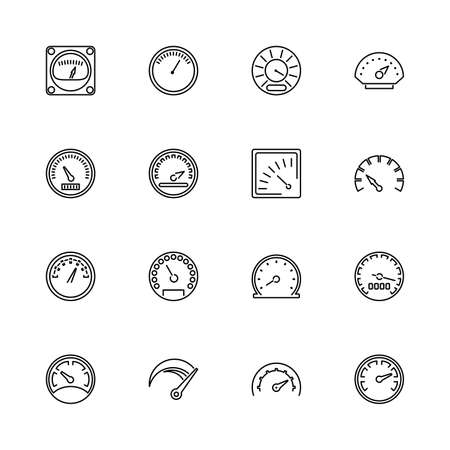 Speedometer, Odometer, Tachometer outline icons - Black symbol on white background. Simple illustration. Flat Vector Icon. Mirror Reflection. Can be used in logo web mobile UI UX project. Stockfoto - 129260547