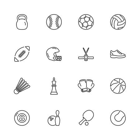 Sport Equipment, Activity Game outline icons - Black symbol on white background. Simple illustration. Flat Vector Icon. Mirror Reflection. Can be used in logo web mobile UI UX project. Stock Illustratie
