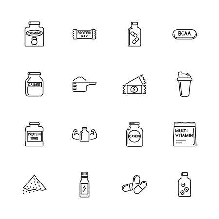 Sport Supplements, Bodybuilding Nutrition outline icons - Black symbol on white background. Simple illustration. Flat Vector Icon. Mirror Reflection. Can be used in logo web mobile UI UX project.