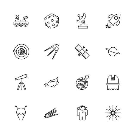 Space, Galaxy, Observatory outline icons - Black symbol on white background. Simple illustration. Flat Vector Icon. Mirror Reflection. Can be used in logo web mobile UI UX project.