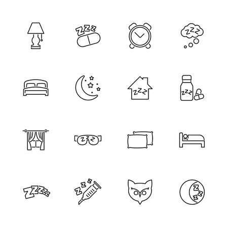 Sleep, Sleeping, Insomnia outline icons - Black symbol on white background. Simple illustration. Flat Vector Icon. Mirror Reflection. Can be used in logo web mobile UI UX project.