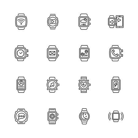 Smart Watch, Smartwatch Clock outline icons - Black symbol on white background. Simple illustration. Flat Vector Icon. Mirror Reflection. Can be used in logo web mobile UI UX project. Иллюстрация