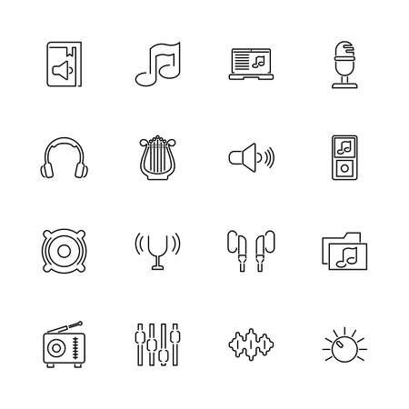 Sound, Broadcasting outline icons - Black symbol on white background. Simple illustration. Flat Vector Icon. Mirror Reflection. Can be used in logo web mobile UI UX project.