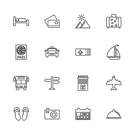Travel, Journey, Traveling outline icons set - Black symbol on white background. Travel, Journey, Traveling Simple Illustration Symbol lined simplicity Sign. Flat Vector thin line Icon editable stroke Stock Illustratie
