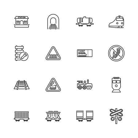 Trains, Railroad Transport outline icons set - Black symbol on white background. Trains, Railroad Transport Simple Illustration Symbol lined simplicity Sign. Flat Vector thin line Icon editable stroke