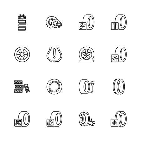Tires, Car Wheel outline icons set - Black symbol on white background. Tires, Car Wheel Simple Illustration Symbol - lined simplicity Sign. Flat Vector thin line Icon - editable stroke