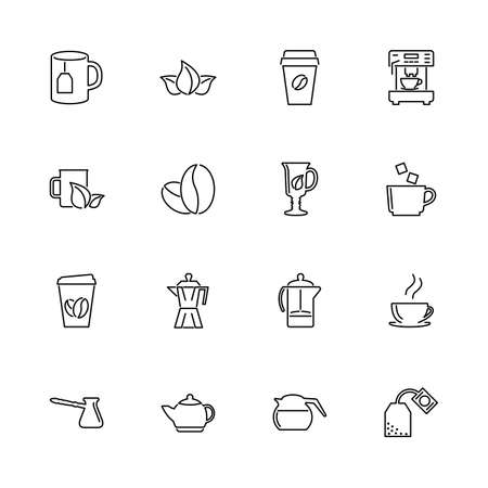 Tea and Coffee Drinks outline icons set - Black symbol on white background. Tea and Coffee Drinks Simple Illustration Symbol - lined simplicity Sign. Flat Vector thin line Icon - editable stroke