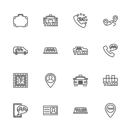 Taxi, ?ar ?all Service outline icons set - Black symbol on white background. Taxi, ?ar ?all Service Simple Illustration Symbol - lined simplicity Sign. Flat Vector thin line Icon - editable stroke
