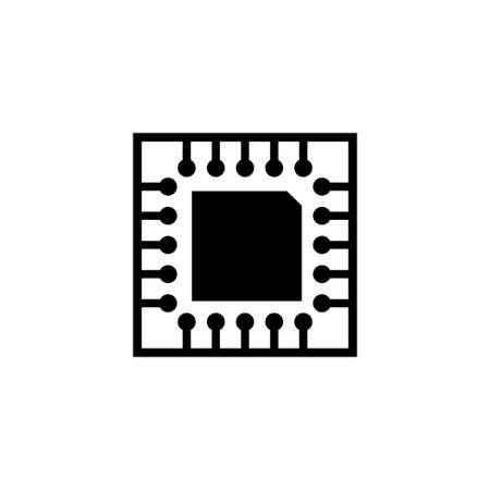 Microchip, Circuit Board, CPU. Flat Vector Icon illustration. Simple black symbol on white background. Microchip, Circuit Board, CPU sign design template for web and mobile UI element