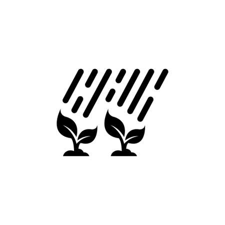 Plant Sprouts Grow in the Rain. Flat Vector Icon illustration. Simple black symbol on white background. Plant Sprouts Grow in the Rain sign design template for web and mobile UI element