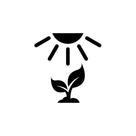 Crop Growth, Young Sprout Under Sun. Flat Vector Icon illustration. Simple black symbol on white background. Crop Growth, Young Sprout Under Sun sign design template for web and mobile UI element