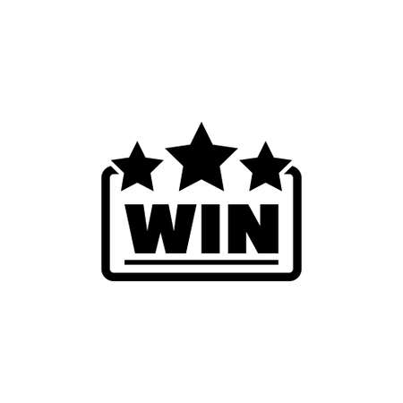 Casino Win, Winner Emblem. Flat Vector Icon illustration. Simple black symbol on white background. Casino Win, Winner Emblem sign design template for web and mobile UI element